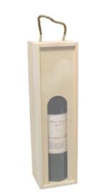 1-fles houten wijnfleskist + venster