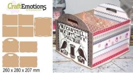 CraftEmotions MDF 3D papier opbergbakje 260x280x207mm