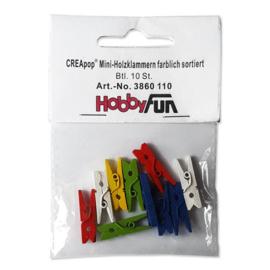 CREApop® Mini-Holzklammern farblich sortiert, Btl. 10 St.