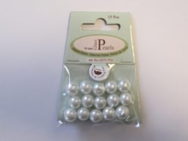 Glas parels rond 10mm wit zak 15 ST