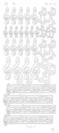 CD3076G   Music Notes Platinum - Goud