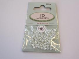 Glas parels rond 4mm wit zak 80 ST