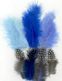 Veren Marabou&Guinea mix blauw 18 ST