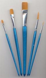 Penselen set nylon 3x plat 2x rond 5 ST 12185-8509