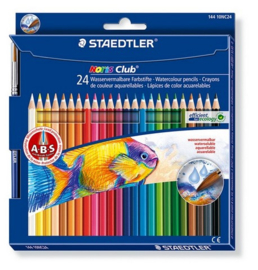 Staedtler Noris Club aquarell - set 24 st. + penseel 144010NC24