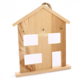 Houten huisje met haakjes 17x19,8x2,2cm