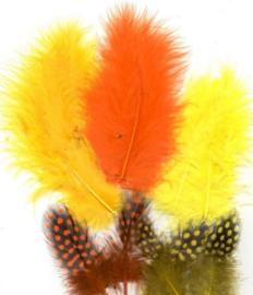 Veren Marabou&Guinea mix oranje geel 18 ST