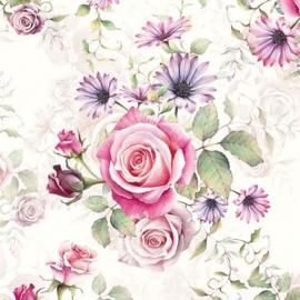 Servetten 5st - Rozen roze en lila 33x33cm Ambiente 13311340