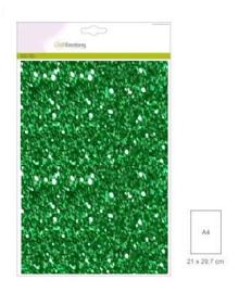 1 vel kerstgroen Glitterpapier  29x21cm 120gr