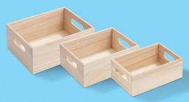 Houten doos, set met 3, 20, 18 en 16 cm