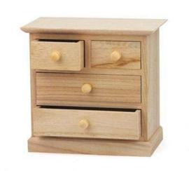 Houten kastje met 4 lades