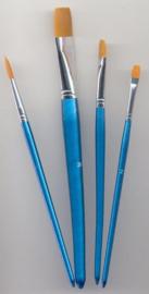 Penselen set nylon 3x plat 1x rond 4 ST 12185-8506