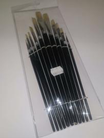 Een set met 11 platte varkensharen penselen voor olie-en acrylverf