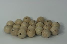 Houten bal uit beuken met gat, naturel 2,5cm per stuk