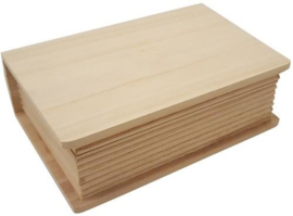 Houten kist boekvorm 20cm x 14,1cm x 6,9cm  paulownia