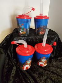 Drinkbekers met Rietje ( stevig  Plastic )