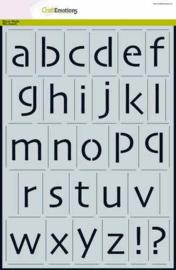 CraftEmotions stencil - alfabet kleine letters Skia A4 - H=±35mm