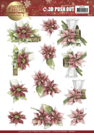 3D Push Out - Precious Marieke - Merry and Bright Christmas - Poinsettia in Red