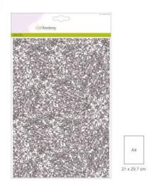 1 vel zilver Glitterpapier  29x21cm 120gr