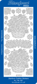 Starform Outline Stickers  991 Goud bloemen