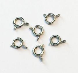 Veersluitingen zilverkleur 7MM 6 ST 12264-6401
