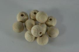 Ronde houten kraal uit beuken met gat, naturel 12mm per 10 st