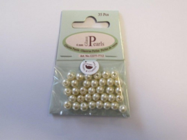 Glas parels rond 8mm beige zak 20 ST