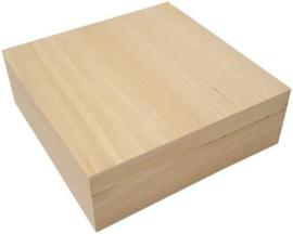 Houten kist vierkant met los deksel 20,9cm x 20,9cm x 7cm paulownia