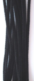 Chenille zwart 6mm x 30cm 20st