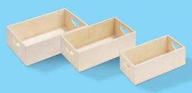 Houten dozen met hart, set met 3, 20, 18 en 16 cm