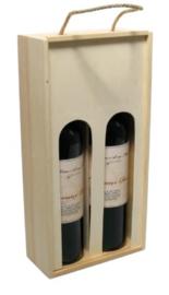 2-fles houten wijnfleskist + venster