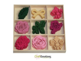 CraftEmotions Vilt ornament doosje High Tea Rose - Rozen 45 pcs - box 10,5 x 10,5 cm