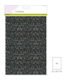 1 vel zwart  Glitterpapier   29x21cm 120gr
