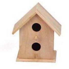 Houten vogelhuisje vierkant met twee gaten