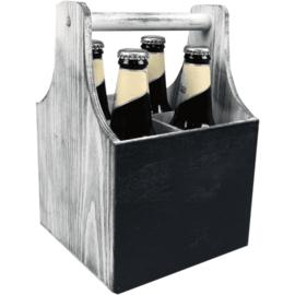 4-fles houten bierkrat met schrijfbord