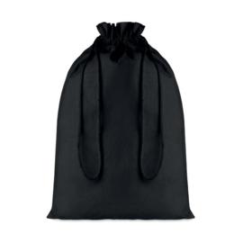 Zwart katoenen Strooizak met trekkoordsluiting. Afmeting: 30 x 43 cm