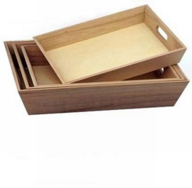 houten dienblad recht greep klein 32x24,3x4,8 cm