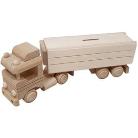 Vrachtwagen met oplegger spaarpot beukenhout