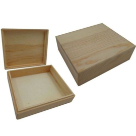 Houten Kist rechthoek met losse deksel 16,5x13,8x5 cm