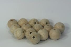 Houten bal uit beuken met gat, naturel 3cm per stuk
