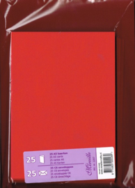 10 C6 enveloppen en 10 A5 kaarten Rood
