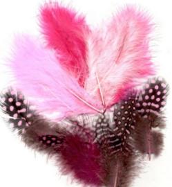 Veren Marabou&Guinea mix roze 18 ST
