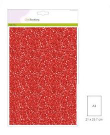 1 vel kerstrood Glitterpapier      29x21cm 120gr