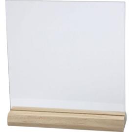 Glazen plaat met houten voet, afm 15,5x 15,5 cm
