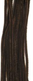 Chenille donkerbruin 6mm x 30cm 20st