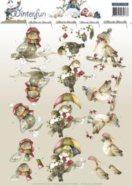 Precious Marieke - 3D-knipvel A4 - Winterfun - Funny birds - CD10785