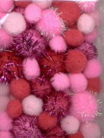 Mix PomPom Set roze incl glitter 50 ST  2 cm, 2.5 cm, 3.5 cm 12233-3304