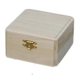 Houten kistje vierkant 10,5cm x 10,5cm x 6cm  paulownia