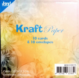 Joy Kraft paper 10 card 13,5 x 13,5  & 10 envelop 14 x 14