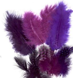 Veren Marabou&Guinea mix paars 18 ST